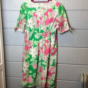 Lilly Pulitzer Dresses - Lilly Pulitzer pink green floral tie sleeve dress